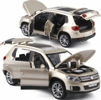1:32 Tiguan SUV Alloy Pull Back Toys Car Model Six Open The Doors Metal For Kids