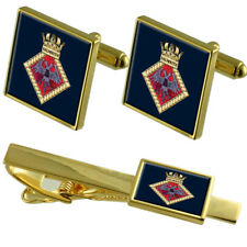 Royal Navy Falmouth Gold Tie Clip Cufflinks Box Set