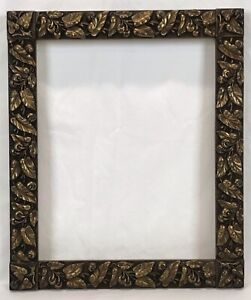 Antique Late 19th C Aesthetic Movement Gold & Black Frame 13 x 16 Opening