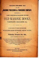16th Semi-Annual Sale Masonic Publishing Company Old Masonic Book NY 1884