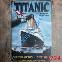 Metal Tin Sign titanic white star line Bar Pub Vintage Retro Poster Cafe ART