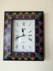 Hand painted Patterned Mandala' Large Wooden Clock