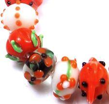 "Lampwork Handmade ""Harvest"" Rondelle Beads - Halloween (10)"