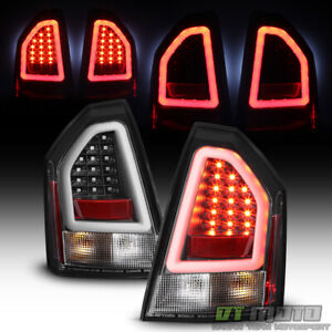 Black 2008-2010 Chrysler 300C SRT Lumiled LED Pyro Tube Tail Lights Brake Lamps
