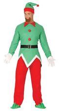 Adult Mens Elf Costume Christmas Fancy Dress Santas Helper Outfit Medium / Large