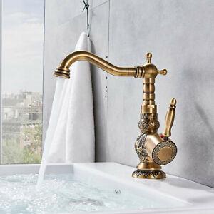 Antique Brass Kitchen Sink Taps Mixer Single Lever Lead-Free Bathroom Tap UK