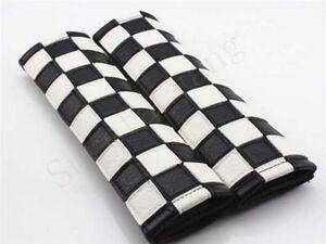 2Pcs Checkerboard Leather & Carbon Fibe Auto Seat Belt Cushions Shoulder Pads