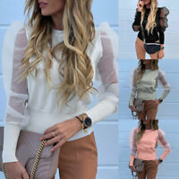 Women Ladies Puff Mesh Sleeve Tops Pullover Sweater Blouse Loose Jumper Tops