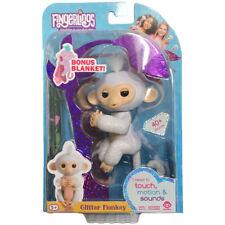 SUGAR White Glitter Monkey WOWWEE FINGERLING with Bonus Blanket AUTHENTIC Amazon