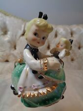 Rare Vintage 1950's Lefton Little Girl w/her look-alike doll figurine