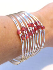 Metal Wire Cuff Bracelet Pink Beads 14 Rings New
