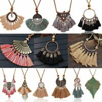 Women Boho Cotton Tassel Pendant Necklace Sweater Long Leather Jewelry Gifts NEW