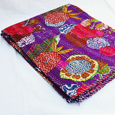 King Size Purple Kantha Quilt Cotton Patchwork Vintage Handmade quilts Bedspread
