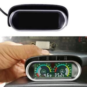 Car SUV LCD Digital Water Temperature Oil Pressure Fuel Gauge Panel W/ Sensor