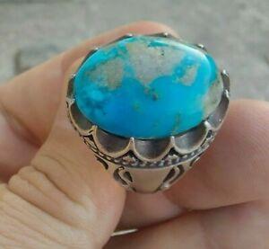 Vintage Turquoise Feroza GEMSTONE in Sterling Silver handmade Shia Sufi Men Ring