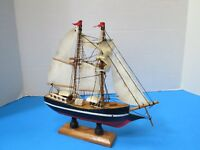 "Wooden Boat Model With Cloth Sails Fully Assembled 8"" In Length"
