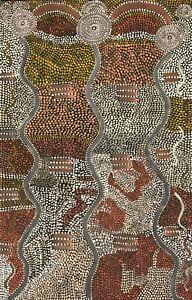 "Acrylic & Canvas Aboriginal Painting Dinny Nolan Tjampitjinpa ""Water Dreaming"""
