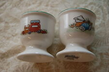 """TWO 2 1/4"""" PORCELAIN EGG CUP BY VILLEROY & BOCH - FOXWOOD TALES PATTERN"""