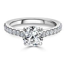 Redondo 0.74Ct Anillo de Compromiso con Diamante para Mujer 18K Oro Blanco TALLA