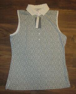Fairway & Greene Livy Womens Sleeveless 1/4-Zip Shirt, Frost Green, Size S, NEW