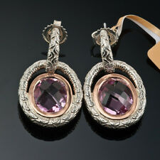Charles krypell 14k oro rosa & Argento Sterling, ovale rosa topazio orecchini