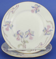 Bohemia Ceramic Works Czechoslovakia Orchid Iris 2 Bread Plates Vintage Lavender