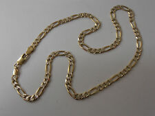 9ct GOLD FIGARO NECK CHAIN NECKLACE. DIAMOND CUT PATTERN