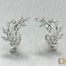 14k Solid White Gold .66ctw Diamond Cluster Stem Leaf Shape Earrings