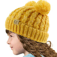 Kids CC Ages 2-7 Pom Pom Ears Chunky Thick Stretchy Knit Soft Beanie Hat
