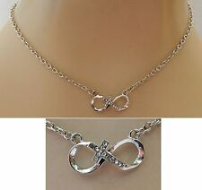 Silver Infinity Knot Cross Strand Necklace Jewelry Handmade NEW Adjustable