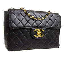 CHANEL Quilted CC Jumbo Double Chain Shoulder Bag Black Leather VTG M14416f