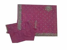 Om Vintage Indian Sari Georgette Hand Beaded Embroidered Saree,Blouse ZA10242
