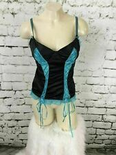 Native Intimates Womens Sz 36B Camisole Teddy Nightie Black w/ Blue Trim Ribbon