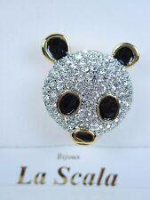 La Scala Gold Plated Panda Brooch with Swarovski Crystals & Black Enamel