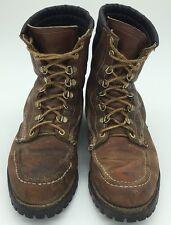 Vintage Moc Toe Loggers Work Boots Leather Vibram Lug Sole Steel Toe 7E