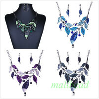 Vintage Womens Jewelry Crystal Chunky Fashion Bib Pendant Leaves Chain Necklace