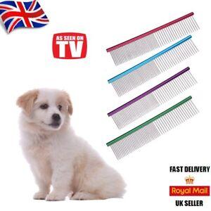 "Pet Dog Cat Metal Double Row Teeth Grooming Hair Comb Brush Fur Rake Tool ""UK"""