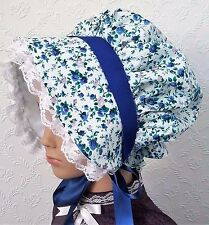 Girls VICTORIAN Cotton Floral BONNET Hat Fancy Dress Costume Xmas Dickens Stage