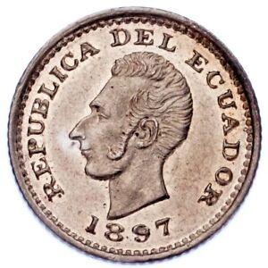 1897 Ecuador 1/2 Decimo Coin (MS, Uncirculated Condition) KM# 55.1
