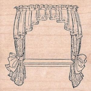 CURTAIN Window Sill Lace Curtains Wood Mount Rubber Stamp Art Impressions NEW