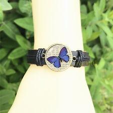 Glass Cabochon Leather Charm Bracelet Blue butterfly Wildlife Bangle 20 mm