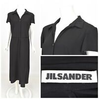 Womens Jil Sander Long Black Dress Shirt Viscose Short Sleeve Size IT44 / UK12