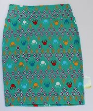 Large LuLaRoe Disney Cassie Skirt Minnie Mouse Green Red Blue Yellow Geometric