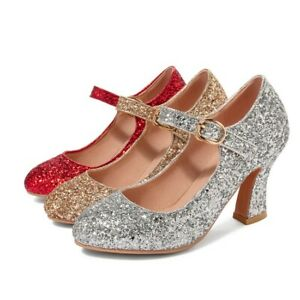 Ladies Bling Shoes Synthetic Leather High Heels Ankle Strap Pumps UK Size S243
