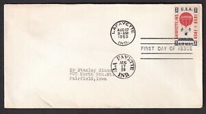 US 1959 FDC Scott # C54 Jupiter Hot Air Balloon 7 cent First Day Cover Air Mail