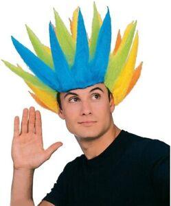 Rainbow Spike Wig Troll Funny Fancy Dress Up Halloween Adult Costume Accessory
