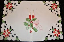 MIDWINTER OFF WHITE CHRISTMAS PLACE MATS EMBROIDERED RED CANDLE CUT OUT DESIGN