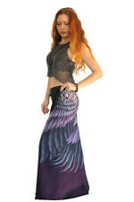 Purple Feathers Long Art Summer Skirt, Beach Skirt - 100% Cotton