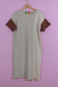 VTG 60s Goldworm Italia Knit Neutral Colorblock Column Boho Chic Midi Dress S/M