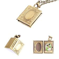 New Woman Photo Frame Book Bronze Pendant Locket Chain Necklace Jewellery Gift